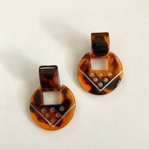 80's vintage tortoise geometric shell earrings